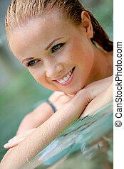 bonito, retrato, mulher, piscina