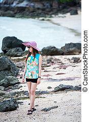 bonito, retrato, mulher, praia, asiático