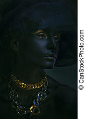 bonito, retrato, mulher, pretas, pele