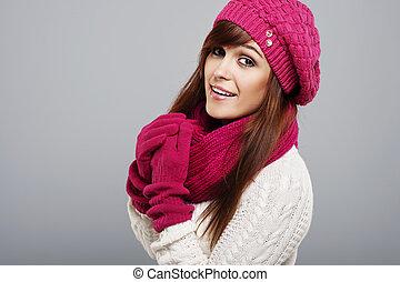 bonito, retrato, mulher, roupas inverno