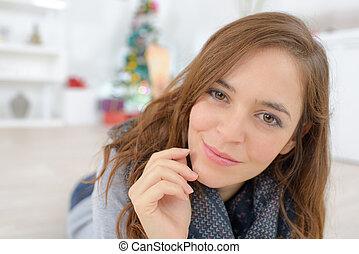 bonito, retrato, mulher sorridente