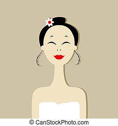 bonito, retrato mulher, spa, salão