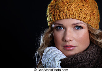 bonito, retrato, mulher, tempo inverno