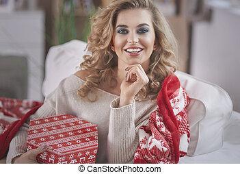 bonito, retrato, mulher, tempo natal
