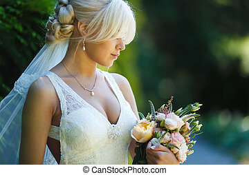bonito, retrato, noiva