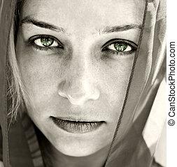 bonito, retrato, olhos, mulher, artisticos