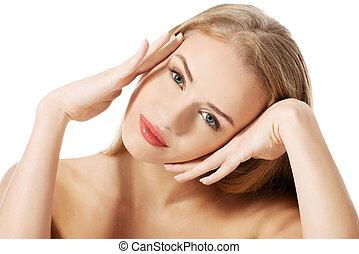 bonito, retrato, woman., topless, caucasiano