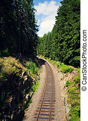 bonito, rochoso, república tcheca, floresta, estrada ferro, minério, montanhas