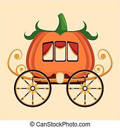 bonito, roda, carruagem, ouro, abóbora