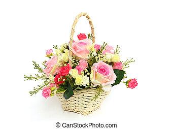 bonito, rosas, branca, cesta, isolado