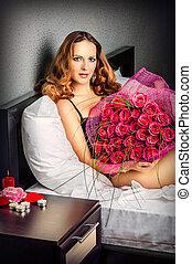 bonito, rosas, mulher, jovem, vermelho