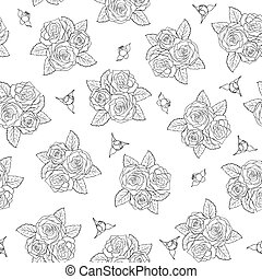 bonito, rosas, pattern., seamless, buquês