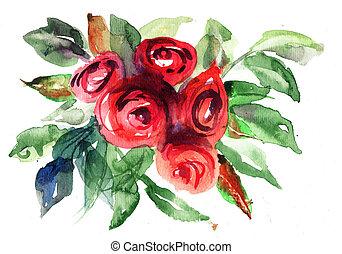 bonito, rosas, pintura aquarela, flores