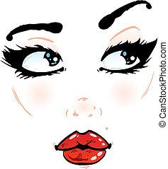 bonito, rosto, detalhes, ligado, um, fundo branco,...