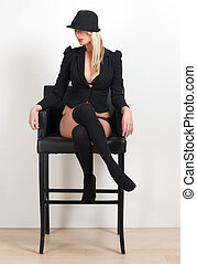 bonito, roupa interior, assento mulher, loura, cadeira