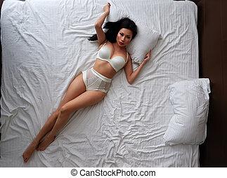 bonito, roupa interior, branca, cama, mentiras, defiantly,...