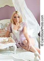 bonito, roupa interior, mulher, cama