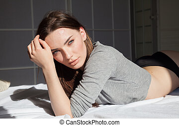 bonito, roupa interior, mulher, cama, mentiras, quarto