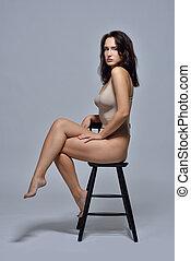 bonito, roupa interior, mulher, chair., sentando
