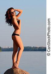 bonito, roupa interior, mulher, praia