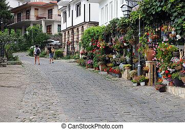 bonito, rua, de, ohrid, cidade velha