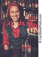 bonito, ruivo, barmaid, coquetel, fazer
