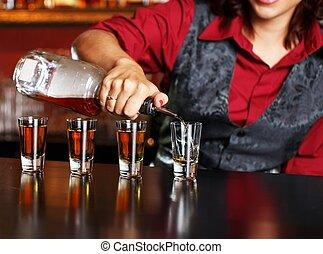 bonito, ruivo, barmaid, tiros, fazer