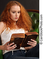 bonito, ruivo, leitura, bíblia