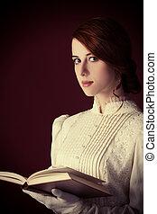 bonito, ruivo, mulheres, com, livro