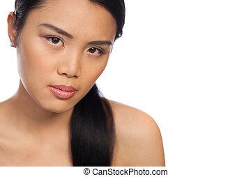 bonito, sério, mulher, jovem, asiático