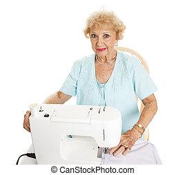 bonito, sênior, cosendo