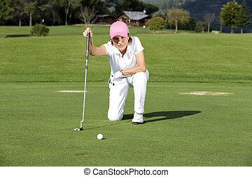 bonito, sênior, femininas, jogador golfe