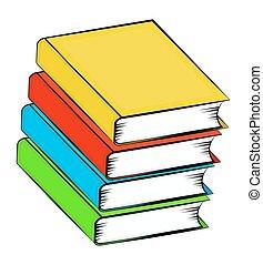 bonito, símbolo, isolado, ilustração, vetorial, livros, fundo, pilha, branca, ícone, caricatura, design.