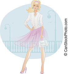 bonito, saco, mulher, moda