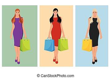 bonito, saco, shopping mulher