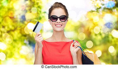 bonito, sacolas, shopping mulher, cartão crédito