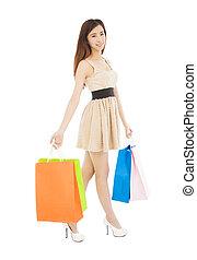 bonito, sacolas, shopping mulher, jovem