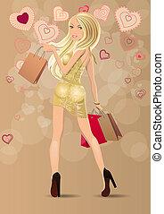 bonito, sacolas, stylized, carregar, loura, corações,...