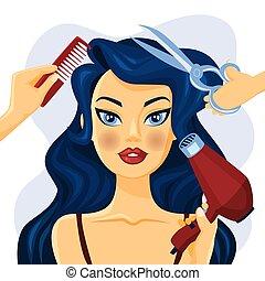 bonito, salão cabelo, mulher