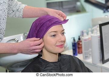 bonito, salão hairdressing, assento mulher