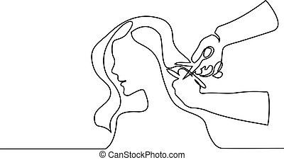 bonito, salão, mulher, beleza, corte cabelo