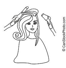 bonito, salão, mulher, doodle, -, ilustração, hairdressing