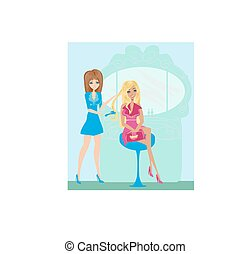 bonito, salão, mulher, hairdressing