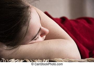 bonito, sala de estar, dorme, menina jovem