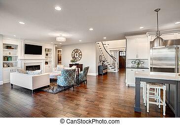 bonito, sala de estar, fornecido, luxo, repouso novo