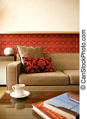 bonito, sala de estar, hotel, desenho, interior, conjunto