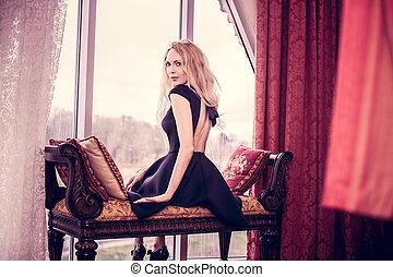 bonito, sala, sentar, jovem, luxo, menina
