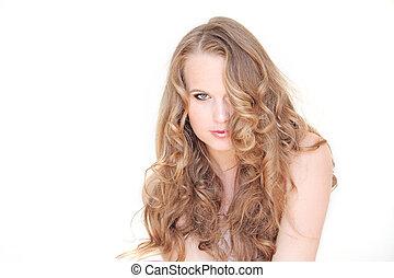 bonito, saudável, cabelo, longo