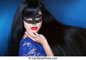 bonito, saudável, hair., beleza, mulher, em, máscara, com, luxuoso, longo, hairstyle., vermelho, lips., atraente, menina, com, longo, liso, brilhante, cabelo reto, sobre, escuro azul, experiência., haircare, cosmetics.