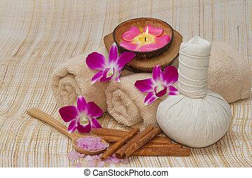 bonito, saudável, massagem, fundo, spa, tailandês, bambu